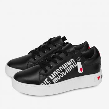 LOVE MOSCHINO Zipper Line – Black Leather Sneakers with Zip Details