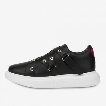 LOVE MOSCHINO Heart Eyelets Line – Black Leather Sneakers For Women