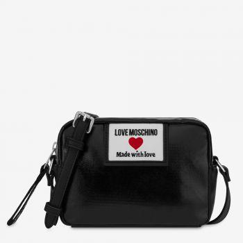 LOVE MOSCHINO Sporty Label Line – Black Shiny Canvas Shoulder Bag
