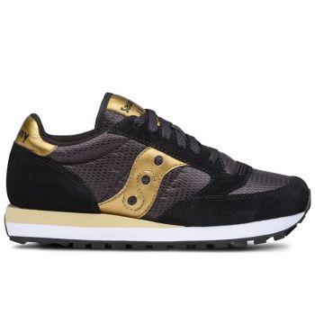 Saucony Jazz Original Line – Black- Gold Suede Fabric Sneakers for Women