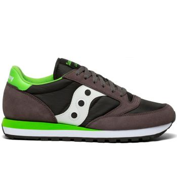 Saucony Jazz Original Line – Grey Lime Suede Fabric Sneakers for Him