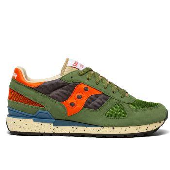 SAUCONY Shadow Original Line – Green Grey Orange Leather Fabric Sneakers