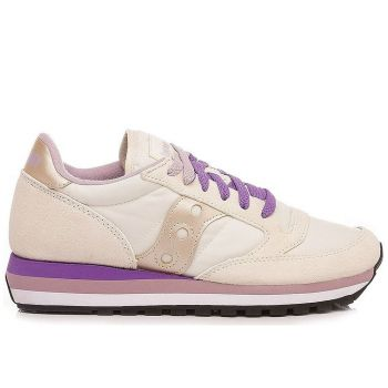 Saucony Jazz Triple Line – Cream Violet Suede Fabric Sneakers