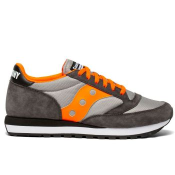 SAUCONY Jazz 81 Line – Grey Orange White Leather Sneakers for Him