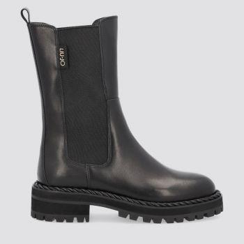 LIU JO Black Leather Combat Boots for Women