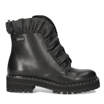 LIU JO Black Leather Boots with Volant Details