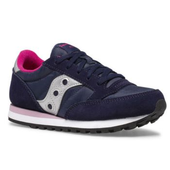 Saucony Jazz Original Line – Navy Pink Leather Fabric Sneakers for Kids
