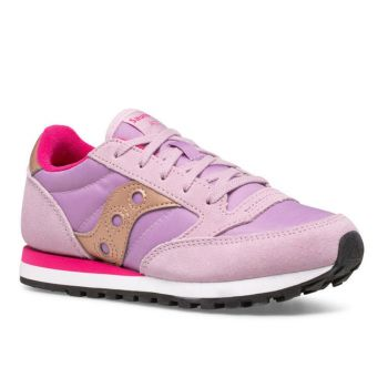 Saucony Jazz Original Line – Mauve Pink Leather Fabric Sneakers for Kids
