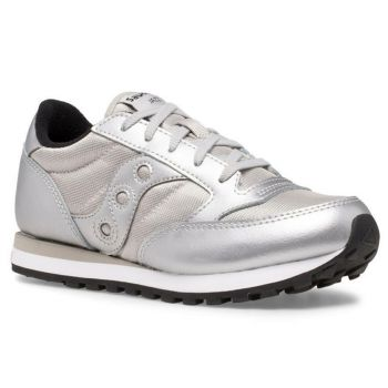 Saucony Jazz Original Line – Silver Leather Fabric Sneakers for Kids