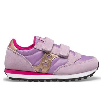 Saucony Jazz Double HL Line – Mauve Pink Leather Fabric Sneakers for Kids