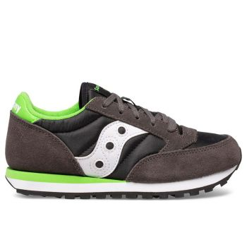 Saucony Jazz Original Line – Black Grey Green Leather Fabric Sneakers for Kids