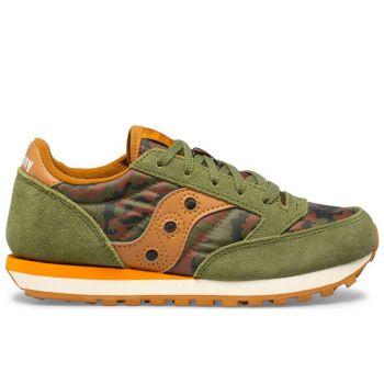 Saucony Jazz Original Line – Olive Orange Leather Fabric Sneakers for Kids