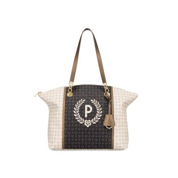 POLLINI Special Heritage Line – Black Ivory Brown Tote Bag