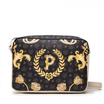 POLLINI Heritage Line – Black Crossbody Bag with Ivory Details TE8414PP03Q4500A