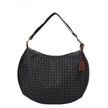POLLINI Heritage Line – Black Brown Leather Hobo Bag TE8420PP04Q1100D