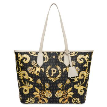 POLLINI Heritage Queen For A Day Line – Black Printed Tote Bag with Ivory Details