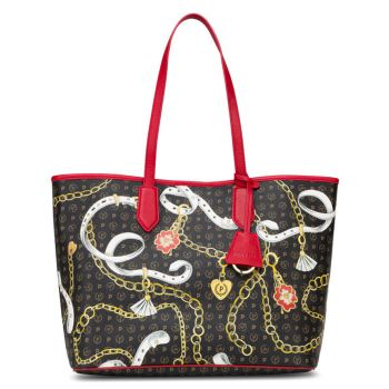 POLLINI Heritage Preppy Club Line – Black and Laky Red Tote Bag