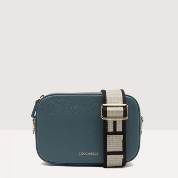 COCCINELLE Tebe Line – Small Shark Grey Leather Crossbody Bag
