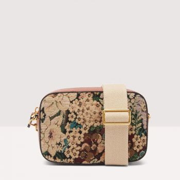 COCCINELLE Tebe Tapestry Line – Small Almond Cinnamon Leather Crossbody Bag