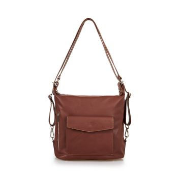 VIAVERDI Brown Leather Bag With Double Wearability Made in Italy