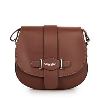 VIAVERDI Dark Chocolate Shoulder Bag With Flap Fastening Made in Italy