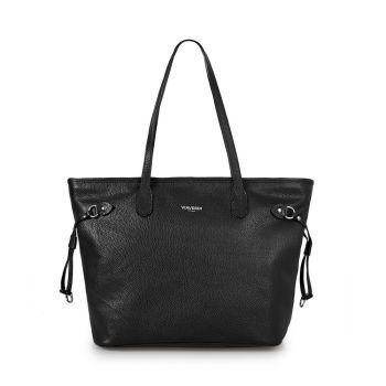 VIAVERDI Black Leather Tote Bag Made in Italy