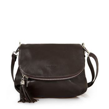VIAVERDI Dark Chocolate Leather Shoulder Bag Made in Italy