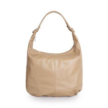 VIAVERDI Hazelnut Leather Hobo Bag Made in Italy