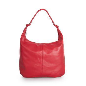 VIAVERDI Red Leather Hobo Bag Made in Italy