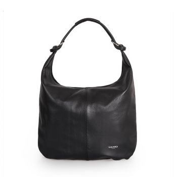 VIAVERDI Black Leather Hobo Bag Made in Italy