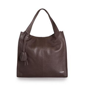 VIAVERDI Dark Chocolate Leather Tote Bag Made in Italy
