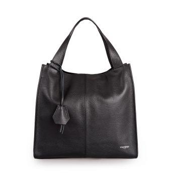VIAVERDI Dark Leather Tote Bag Made in Italy
