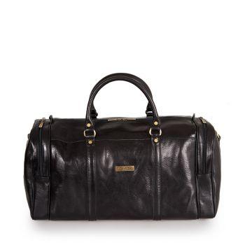 VIAVERDI Black Leather Duffle Bag Made in Italy