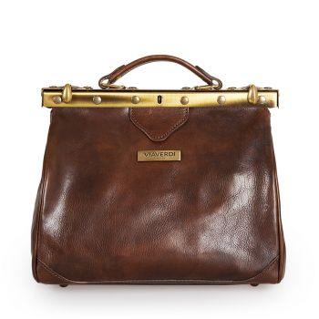 VIA VERDI Medium Dark Chocolate Leather Doctor Bag Made In Italy