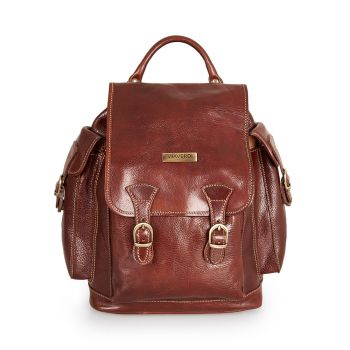 VIAVERDI Brown Leather Backpack with Flap Made in Italy