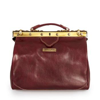 VIA VERDI Medium Bordeaux Leather Doctor Bag Made In Italy