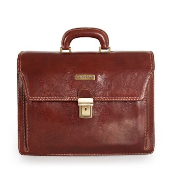 VIA VERDI Brown Leather Portfolio Pc Bag Made in Italy