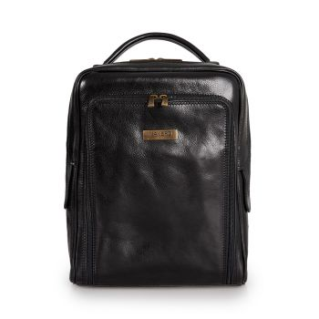VIAVERDI Black Leather Backpack Made in Italy