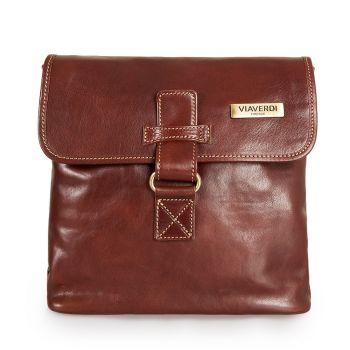 VIAVERDI Brown Leather Crossbody Bag Made in Italy