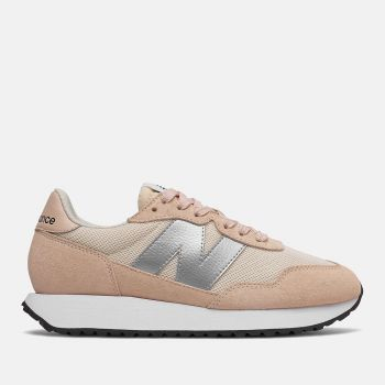 NEW BALANCE 237 Line – Rose Water Silver Metallic Suede Nylon Sneakers