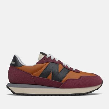 NEW BALANCE 237 Line – Vintage Orange Burgundy Suede and Nylon Sneakers for Women