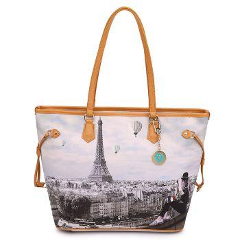 Y NOT YES-319 Line – Large Shoulder Bag with Ciel de Paris Print