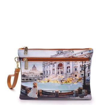Y NOT YES-342 Line – Clutch with Zip Fastening and Roma Trevi Print for Women