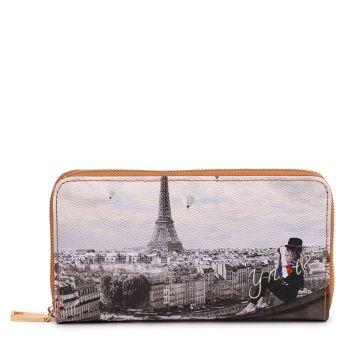 Y NOT YES-361 Line – Zip Around Wallet with Ciel de Paris Print