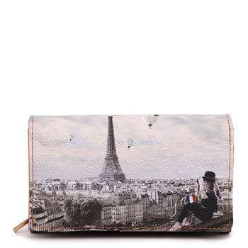 Y NOT YES-364 Line – Wallet with Button Closure Ciel de Paris Print for Women