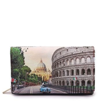 Y NOT YES-364 Line – Wallet with Button Closure Roma Aurelia Print for Women