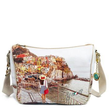 Y NOT YES-370 Line – Shoulder Bag with Tramonto sul Mare Print for Women