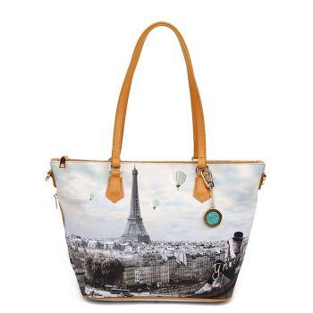 Y NOT YES-396 Line – Medium Tote Bag with Ciel de Paris Print for Women