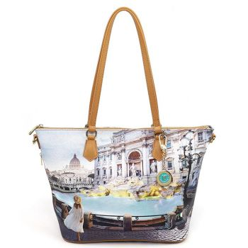 Y NOT Medium Tote Bag with Roma Trevi Print YES-396