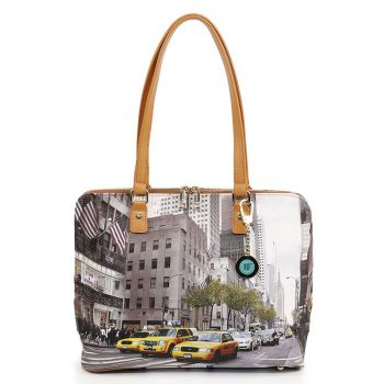 Y NOT YES-478 Line – Large Shoulder Bag with New York Streets Print for Women
